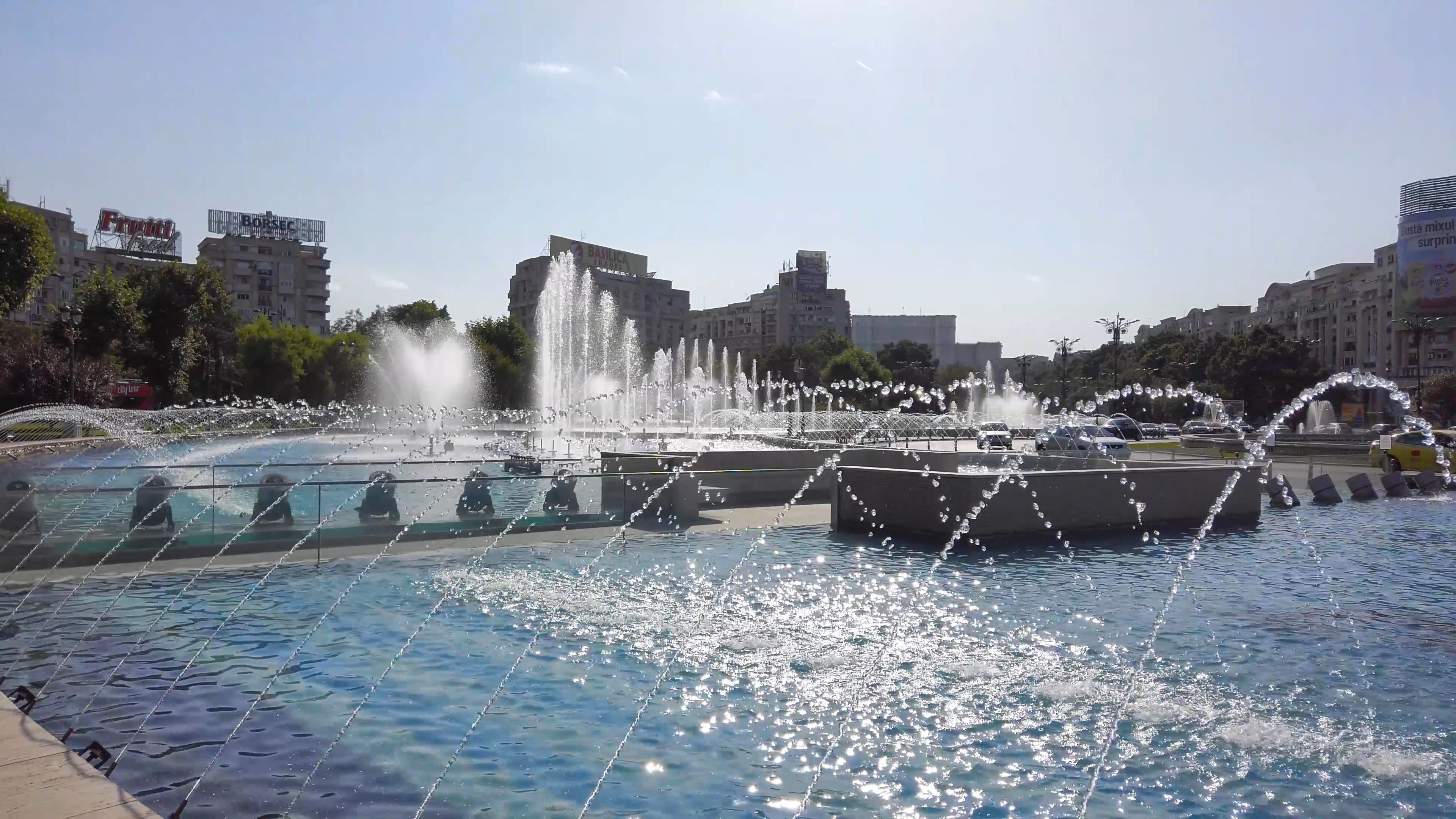 Water fountains in Unirii Square, Bucharest – a relaxation video