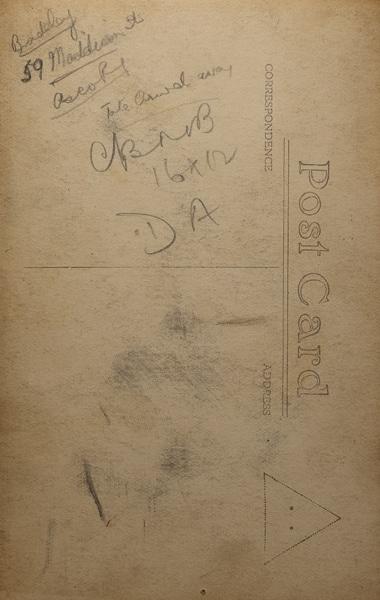 The writing says: Bradley, 59 Maddison Street, {Unclear}, Take Crowd Away, CBNB(?) , 16x12, DA