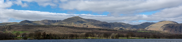 This panorama shows the old Man of Coniston, just left of centre and the it's surrounding hills.