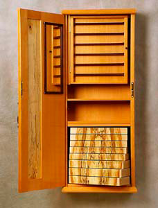 David Finck Woodworker Wall Hung Jewelry Cabinet Lantern