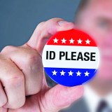 "A badges displaying the phrase ""ID PLEASE"""