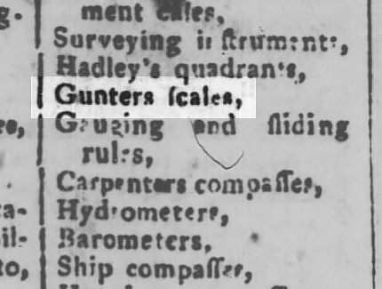 Advertisement for Gunter's scale, 1783