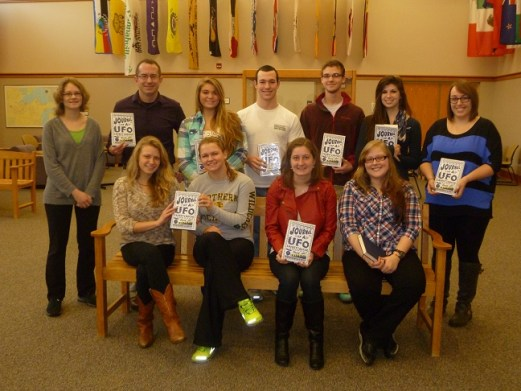Michael Joy's Honors class at Northern Michigan University--what a pleasure to have visited with them!  (Front row: Charlotte Cialek, Samantha Clemence, Elizabeth O'Brien, Kelly O'Dell.  Back row: Sarah Lauinger, Michael Joy, Cayla Moore, John McGovern, Cole Swiston, Mallory Fischer, Alanna Stapleton.)
