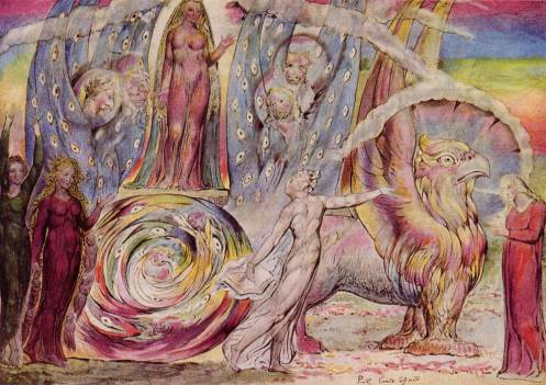 """Blake, """"Beatrice Addressing Dante.""""  The chariot Beatrice rides is Ezekiel's """"merkabah""""--notice the four faces, one human and three animal, and the wheels equipped with eyes (Ezekiel 1:18).  But Beatrice takes the place of Ezekiel's male God."""