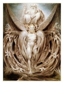 """Ezekiel's vision of the """"merkabah,"""" as re-visioned by William Blake."""