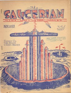 "Cover illustration by Albert Bender, for Gray Barker's ""The Saucerian,"" November 1953. (From the Gray Barker Collection, Clarksburg-Harrison Public Library.) The Tower of Babel, as conceived by its builders ... ?"
