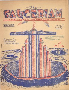 """Cover illustration by Albert Bender, for Gray Barker's """"The Saucerian,"""" November 1953.  (From the Gray Barker Collection, Clarksburg-Harrison Public Library.)  The Tower of Babel, as conceived by its builders ... ?"""