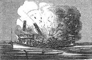 "The 1844 explosion of the boilers of the steamboat ""Lucy Walker""; from an 1856 woodcut. Something very similar happened to the ""Pennsylvania"" in 1858."