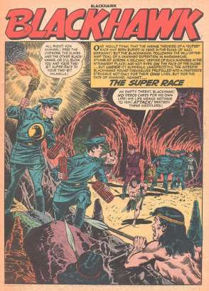 "Full page panel at the beginning of ""The Super Race,"" ""Blackhawk"" comics, August 1956."