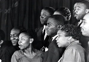 """A choir directed by Juanita Hall sings """"Ezekiel Saw the Wheel"""" in New York City, 1937. Filmed by the Works Progress Administration (WPA); used by permission of www.criticalpast.com."""