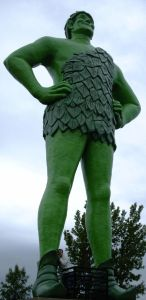 "The Jolly Green Giant in Blue Earth, Minnesota: ""the eighth tallest free-standing statue in the United States (he was actually the fifth tallest when we put him up in 1979 ... )."""