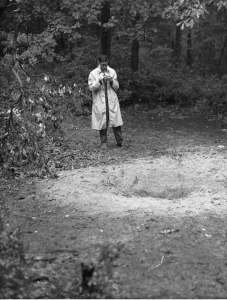 Glassboro, 1964: a 16-year-old UFOlogist inspects the central crater. A broken branch of the sassafras tree is to the left. Photo by the Cassel family of Glassboro.