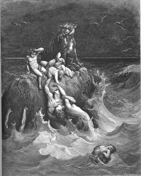 Gustave Dore, The Great Flood (1866; from Wikimedia Commons). No humans or animals died--it was the Shattering of God.