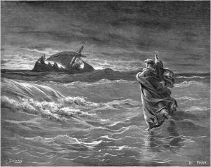 Jesus walks on the sea (Gustave Dore, ca. 1880; from Wikimedia Commons). Could he have done that? What should a Jewish professor tell his Christian students?