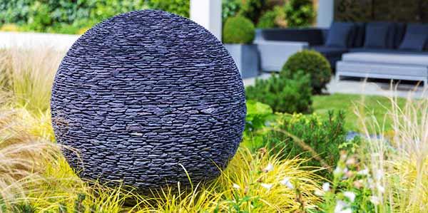 Garden Sphere In Black Stone Or Slate