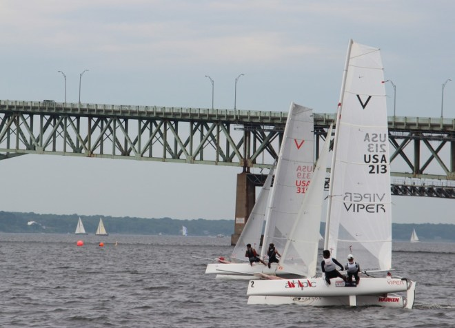 David and Max flat and fast off the start in Newport