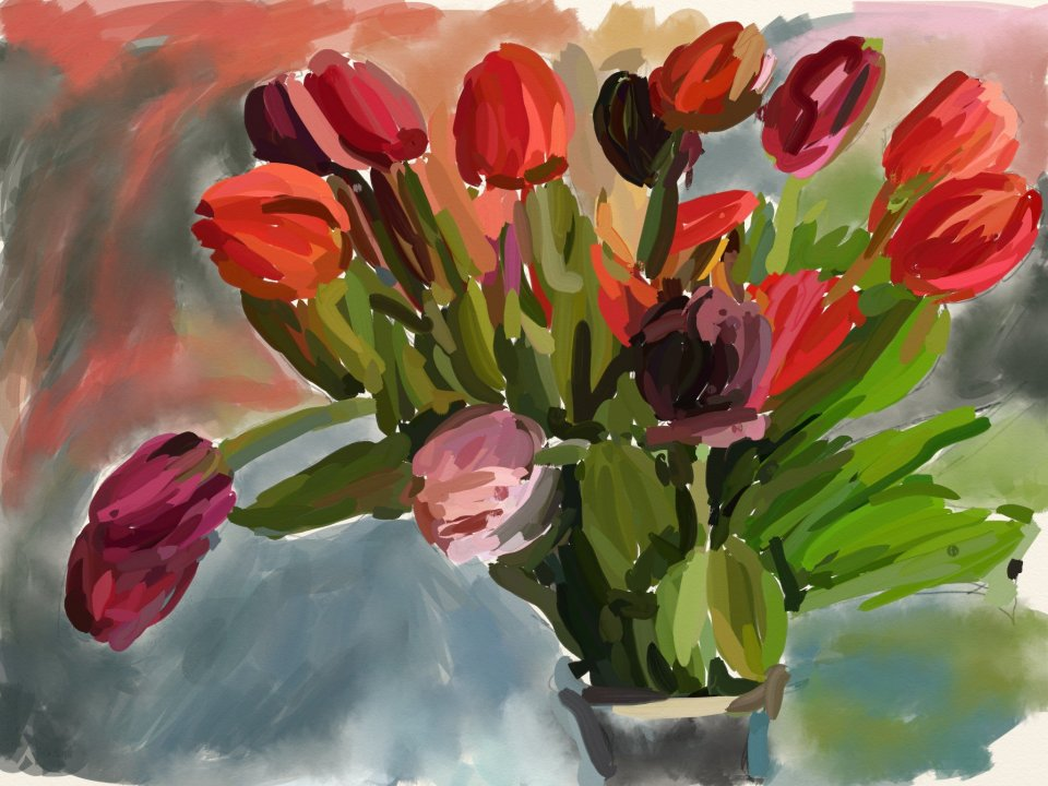 Tulips, digital oils, ArtRage on ASUS tablet