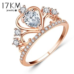 17KM Wedding Jewelry Finger Crystal Heart Crown Rings For Women New Lover Cubic Zirconia Ring Female Engagement Party Wholesale Image 7