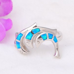3.64g Lovely dolphins design real 925 sterling silver Created blue fire opal rings party wonderful jewelry for lady SR3 Image 3