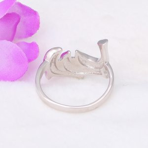 3.64g Lovely dolphins design real 925 sterling silver Created blue fire opal rings party wonderful jewelry for lady SR3 Image 5