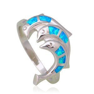 3.64g Lovely dolphins design real 925 sterling silver Created blue fire opal rings party wonderful jewelry for lady SR3 Image 1