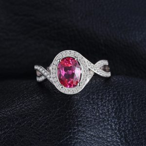 JewelryPalace Classic 1.8ct Oval Created Pink Sapphire Halo Promise Ring 925 Sterling Silver Jewelry New Fashion Rings For Women Image 3