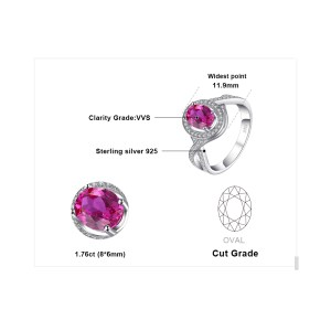 JewelryPalace Classic 1.8ct Oval Created Pink Sapphire Halo Promise Ring 925 Sterling Silver Jewelry New Fashion Rings For Women Image 4