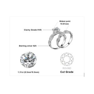 JewelryPalace Infinity 1.5ct Simulated Diamond Anniversary Promise Wedding Band Engagement Ring Bridal Sets 925 Sterling Silver Image 5
