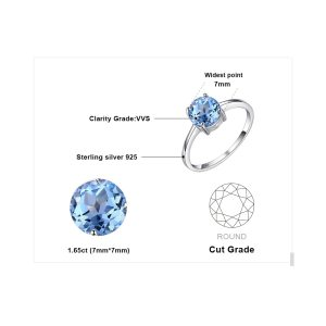JewelryPalace Round 1.6ct Natural Sky Blue Topaz Birthstone Solitaire Ring Genuine 925 Sterling Silver Jewelry For Women Image 5