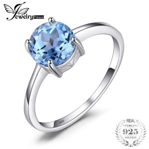 JewelryPalace Round 1.6ct Natural Sky Blue Topaz Birthstone Solitaire Ring Genuine 925 Sterling Silver Jewelry For Women Image 1