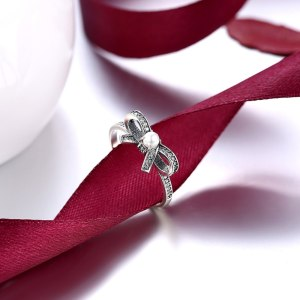 New retro Ousnow brand quality luxury fashion jewelry 100% 925 sterling silver bow tie lady PDRSVR171 Image 3