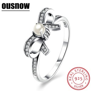 New retro Ousnow brand quality luxury fashion jewelry 100% 925 sterling silver bow tie lady PDRSVR171 Image 1