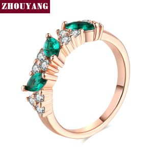 Top Quality ZYR361 Green Crystal Ring Rose Gold Color Austrian Crystals Full Sizes Wholesale Image 2