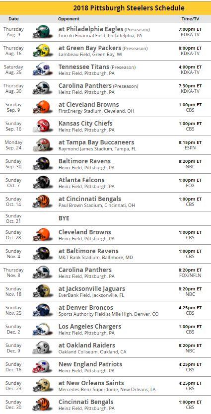 Steelers schedule for 2018 - DavidKeys.com