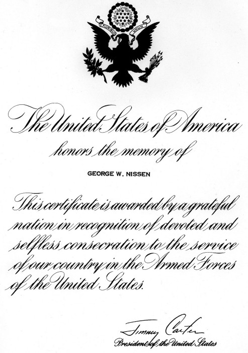 Above: The U.S. honored the memory of George Nissen