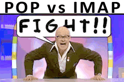"Harry Hill mouthing ""fight"" under a headline of ""POP vs IMAP"""