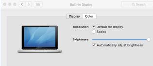 Normal Mac Display Options Window