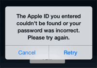 Apple ID - password wrong
