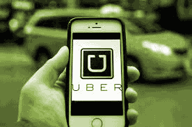 Uber app on an iPhone
