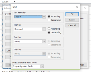 Outlook - sorting emails