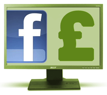 Facebook logo, pound sterling sign, all on computer screen