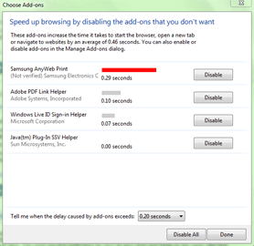 Disable Add-On Dialog Box