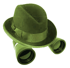 Homburg and binoculars