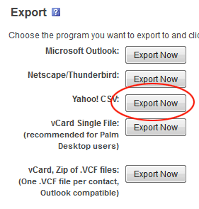 Webmail Data Export Options