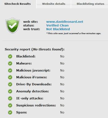 Sucuri Site Checker Result
