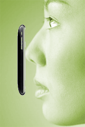 Woman touching iPhone to nose