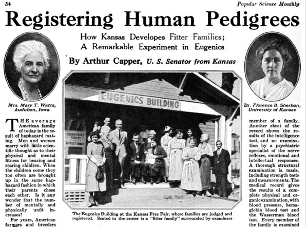 From a Kansas Senator's 1923 pro-Eugenics op-ed