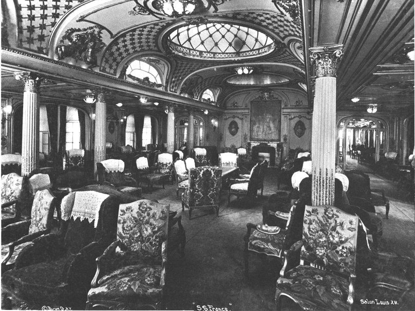 "The SS France Grand Salon Louis XIV from ""The Fabulous Interiors of the Great Ocean Liners"" by William H. Miller, Jr."
