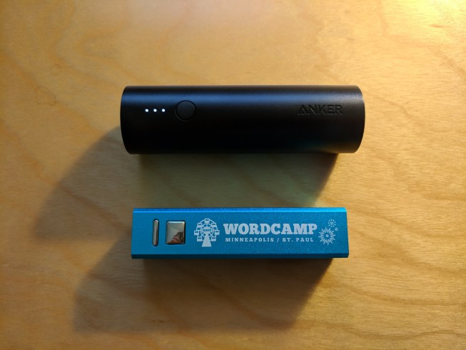 Free USB charger from WordCamp MSP and the Anker Powercore 5000