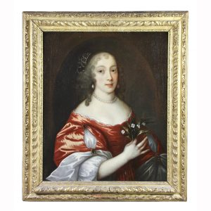 Framed Charles II Oil on Canvas of a Noblewoman.